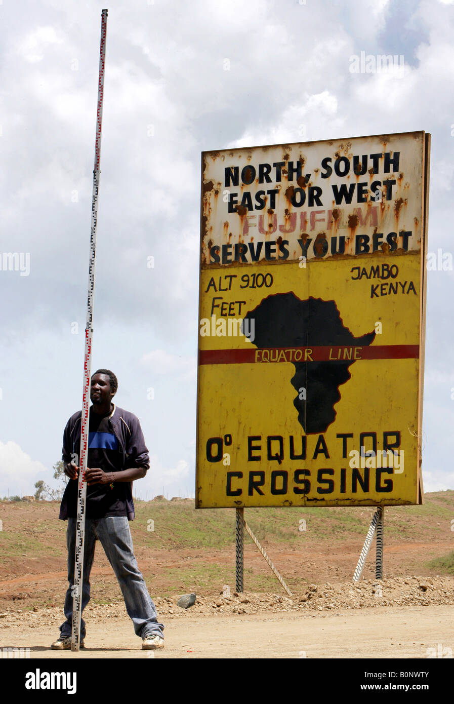 Equator sign at the roadside, Kenya, Rift Valley Stock Photo