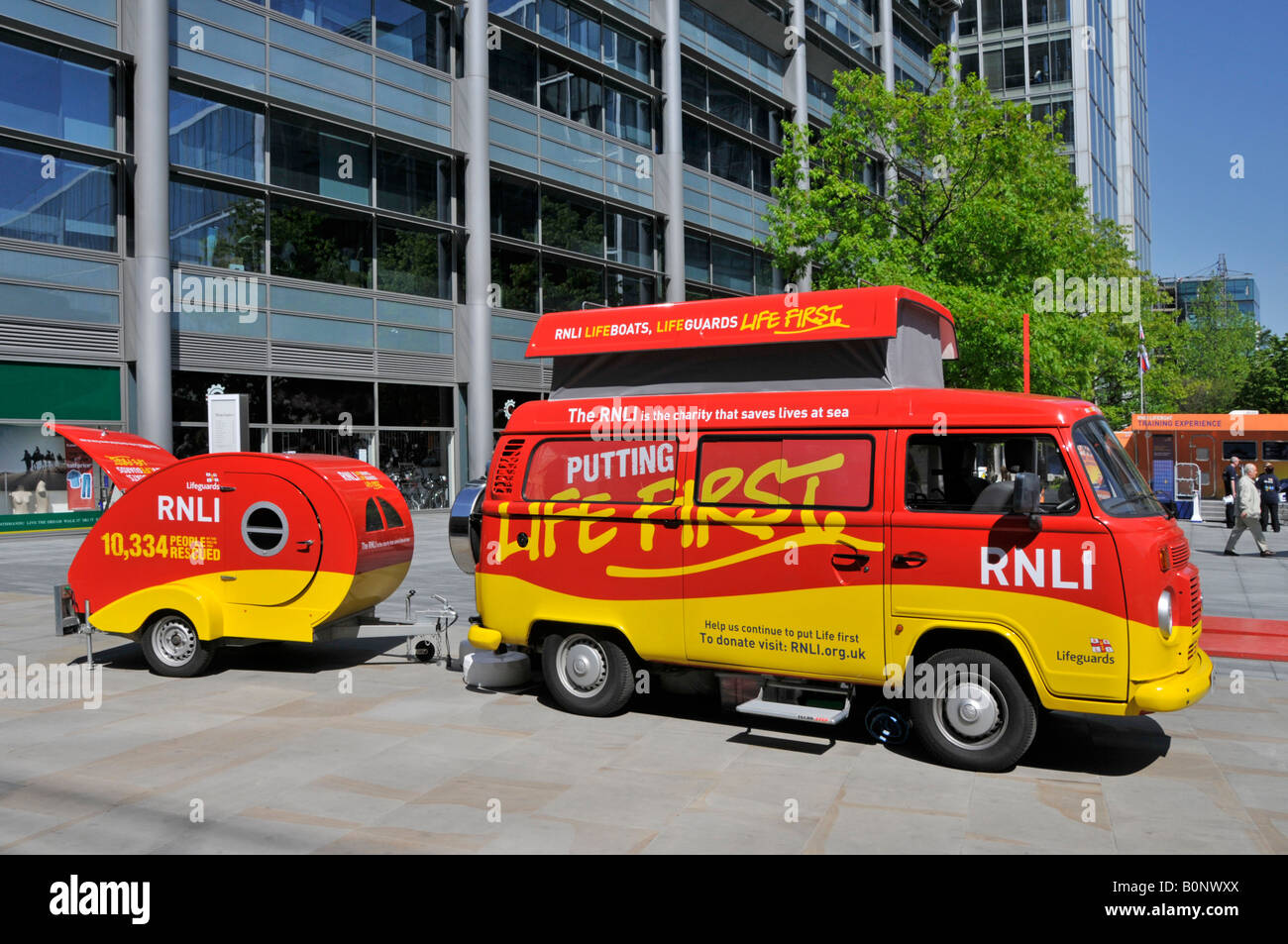 Royal National Lifeboat Institution fund raising display City Of London - Stock Image