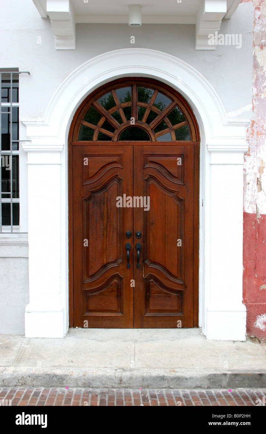 Colonial Door At An Old Building Of The Panama City Casco Viejo