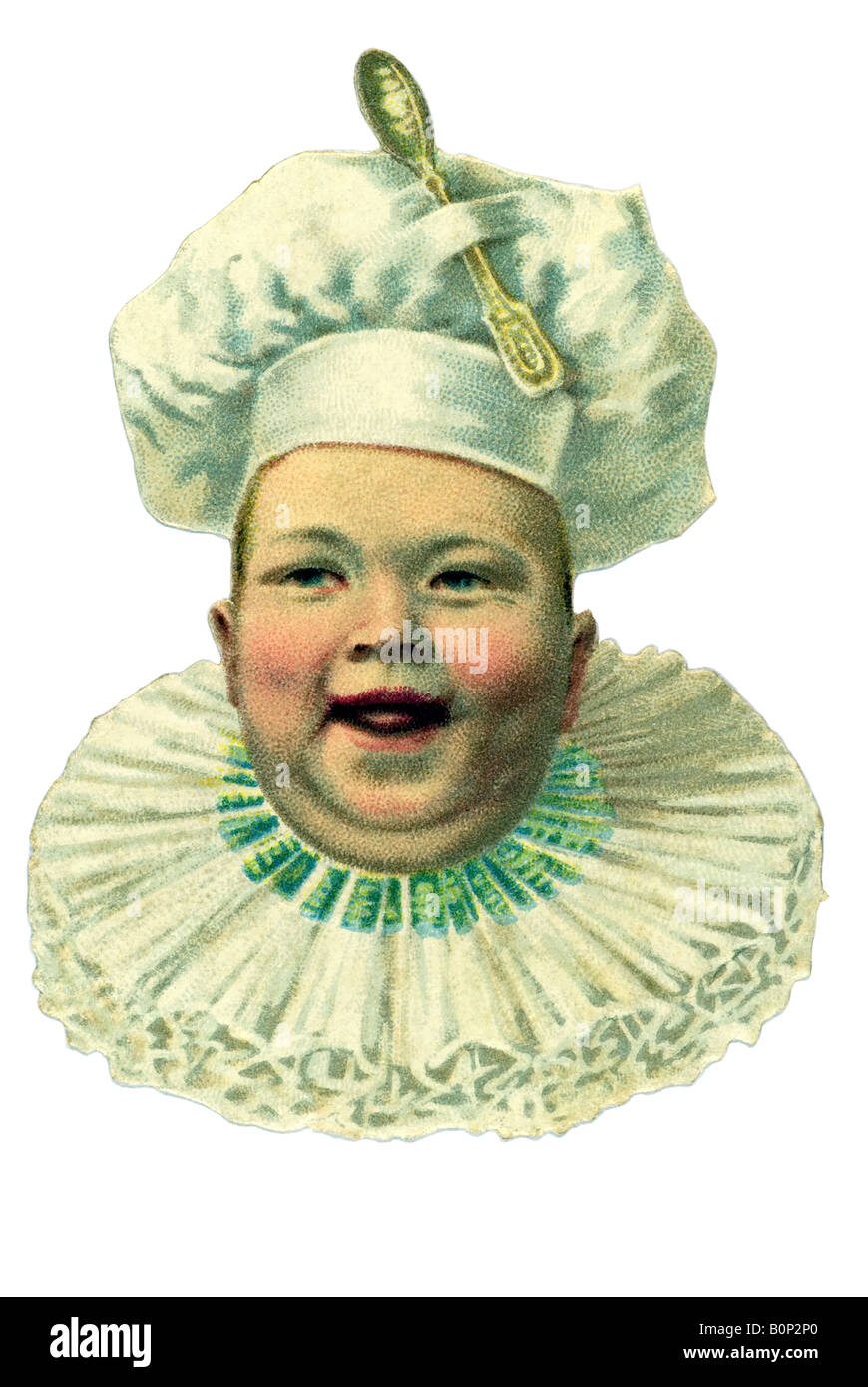 ancient emotional baby head open mouth smiling toby collar ruff made of lace cook hat spoon on top 19th century - Stock Image