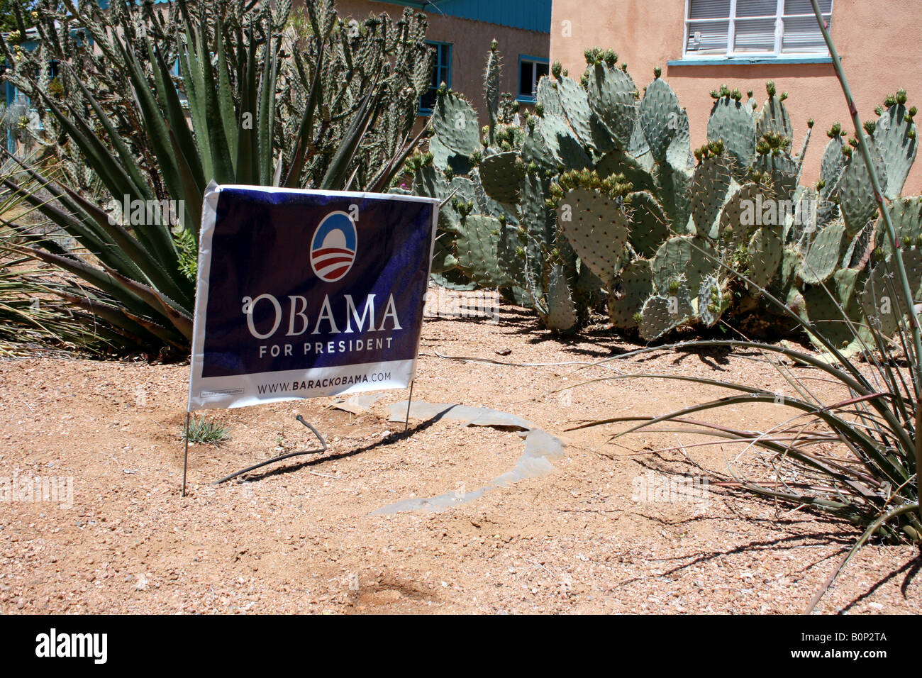 Barrack Obama for president sign outside of house in southwestern united states neighborhood front yard - Stock Image