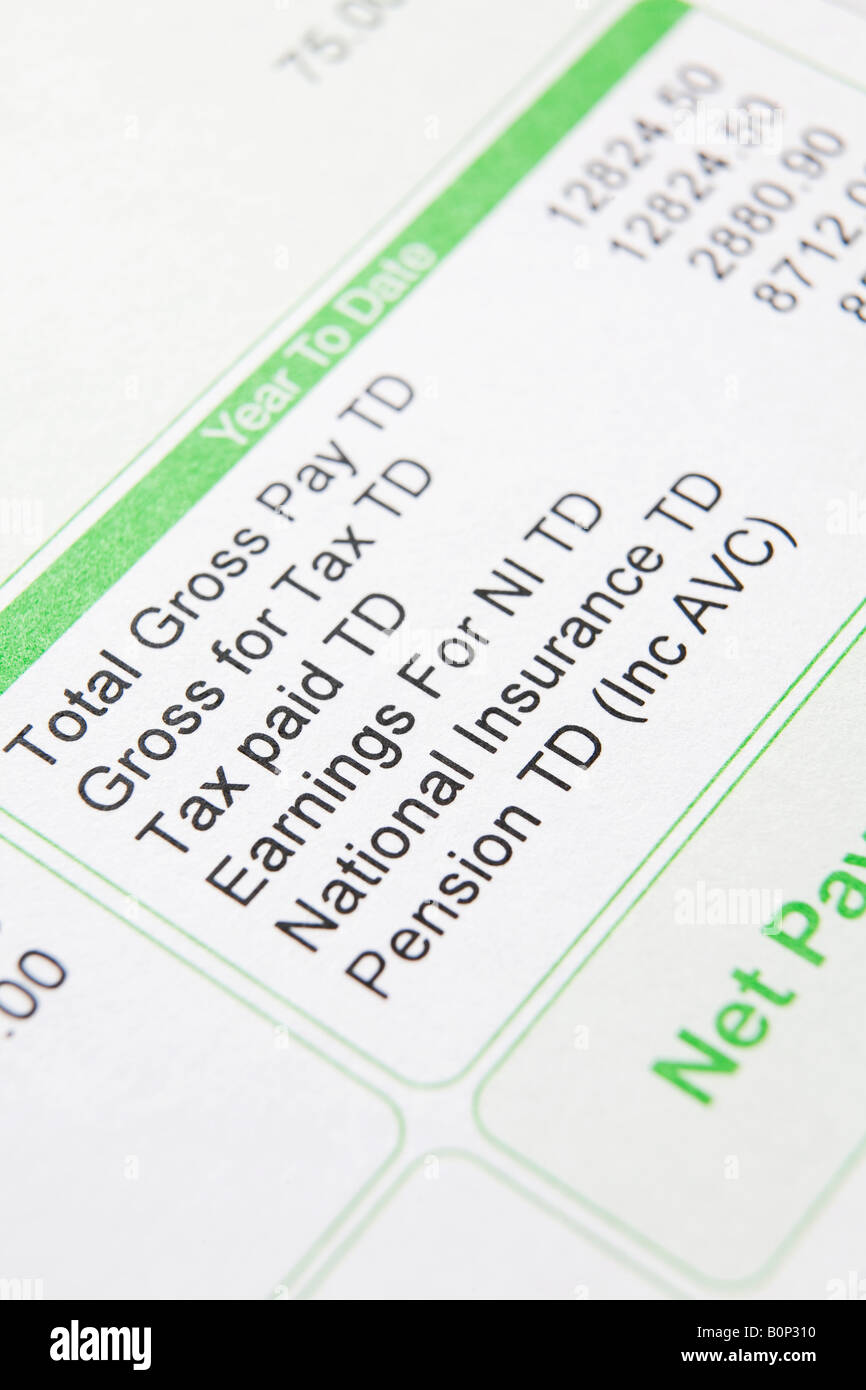 Close up of payslip showing deductions - Stock Image