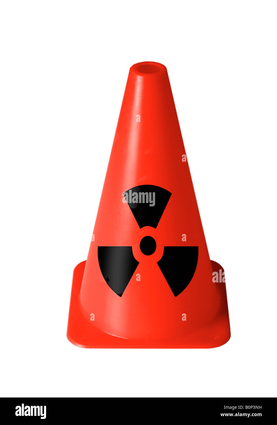 bright red safety cone with radiation sign printed on against white cutout Stock Photo