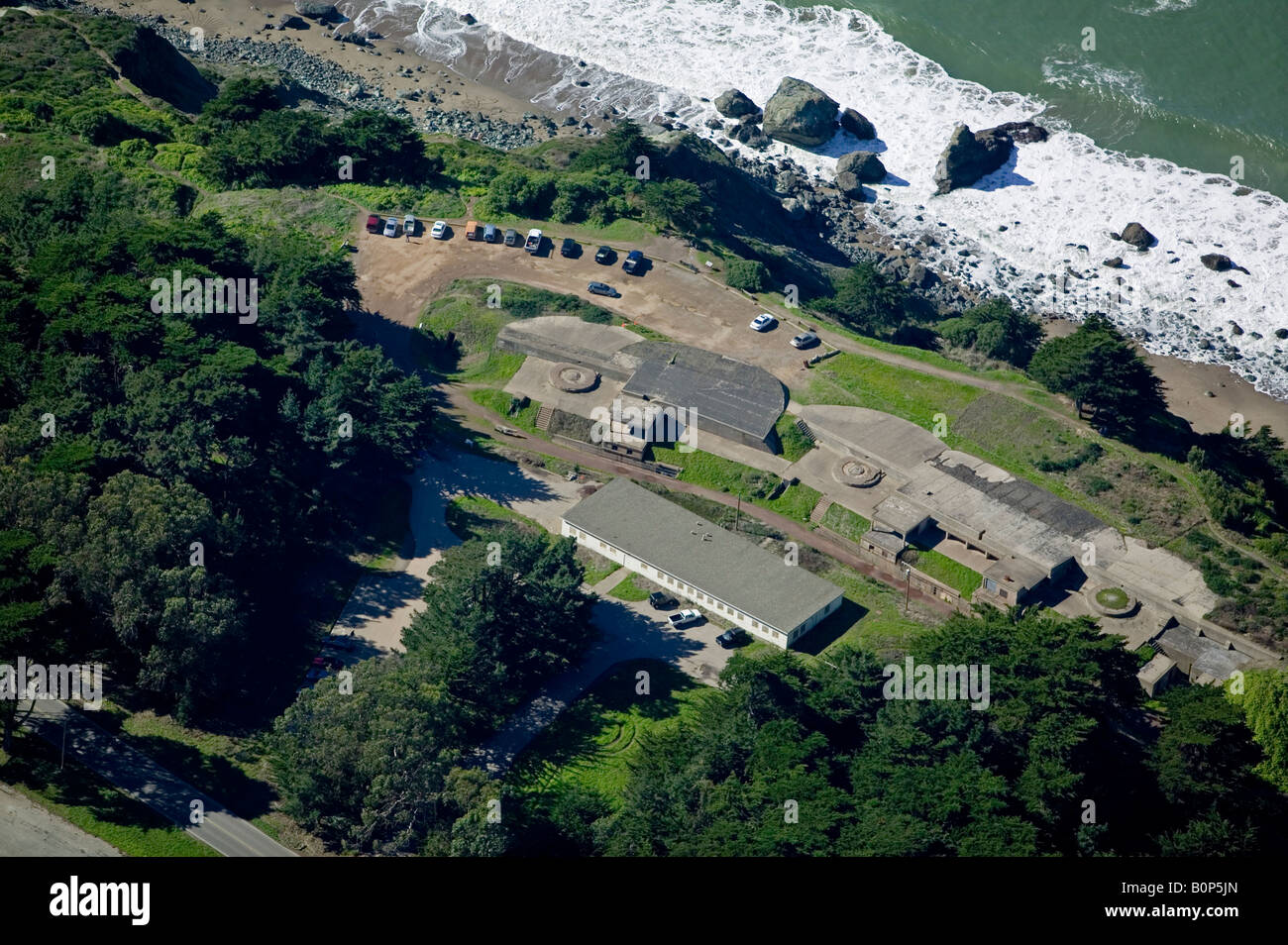 aerial above bunker San Francisco Presidio Golden Gate National Recreation Area GGNRA - Stock Image