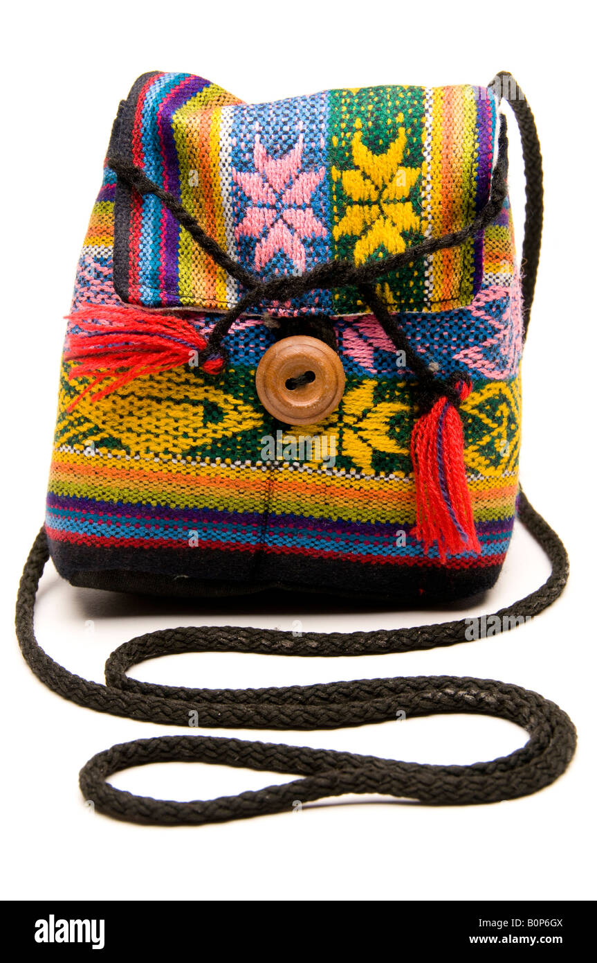 knitted hand made change purse handbag produced in honduras central america Stock Photo