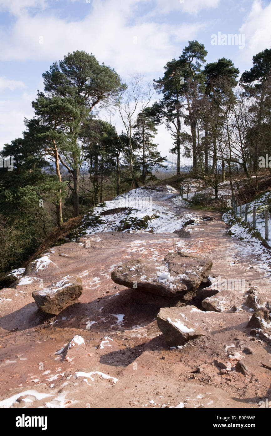 View of Alderley Edge after light snow. Cheshire UK. Stock Photo