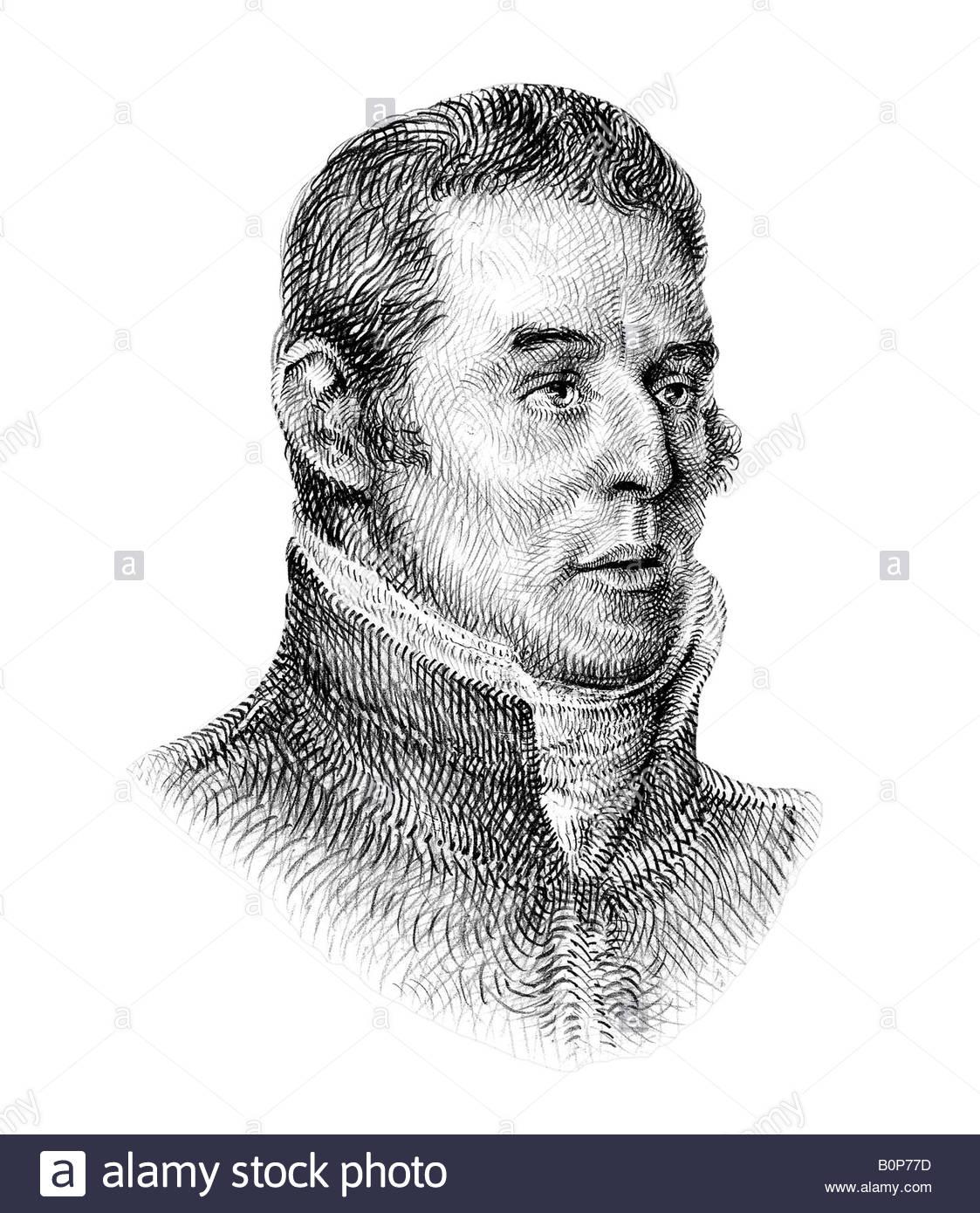 Duke of Wellington 1769 1852 Irish born Soldier Statesman Cross Hatch Style Modern Illustration - Stock Image