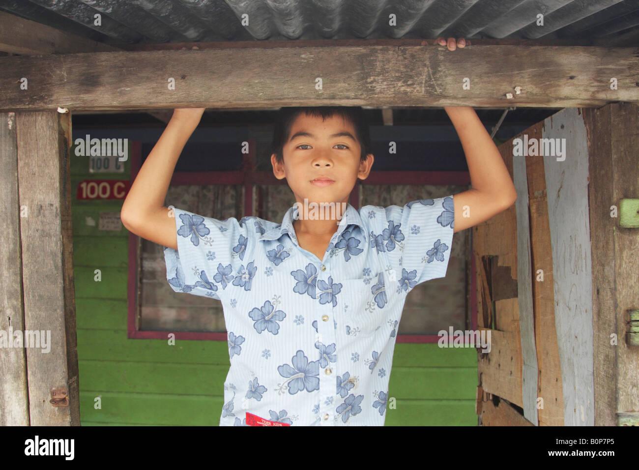 Local Boy From Stilt Village Of Kampung Ayer, Brunei - Stock Image