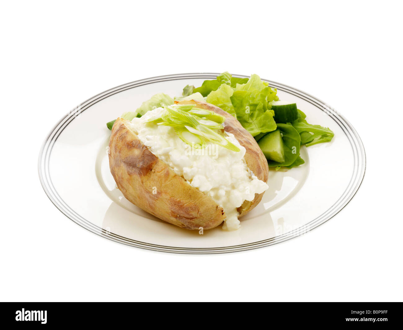 Awe Inspiring Jacket Potato With Cottage Cheese And Spring Onions Stock Interior Design Ideas Gentotryabchikinfo