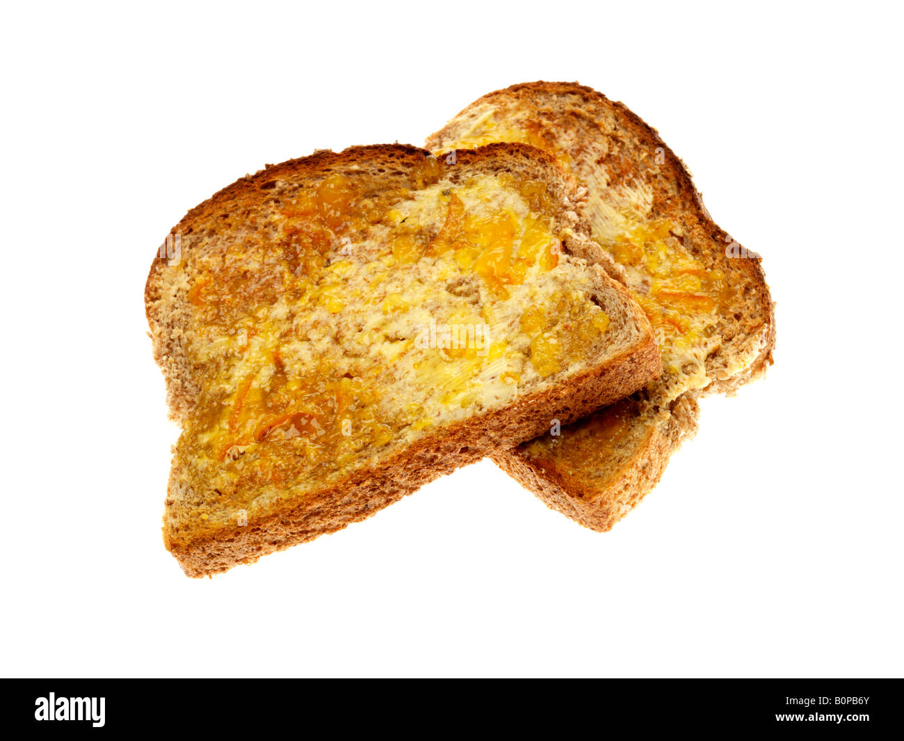 Fresh Sweet Wholemeal Toast With Marmalade Isolated Against A White Background With A Clipping Path And No People Stock Photo