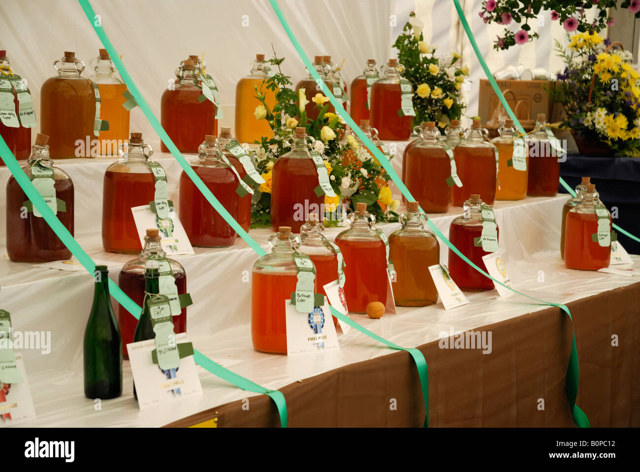 Local cider on display at the Devon County Show, Exeter, UK - Stock Image
