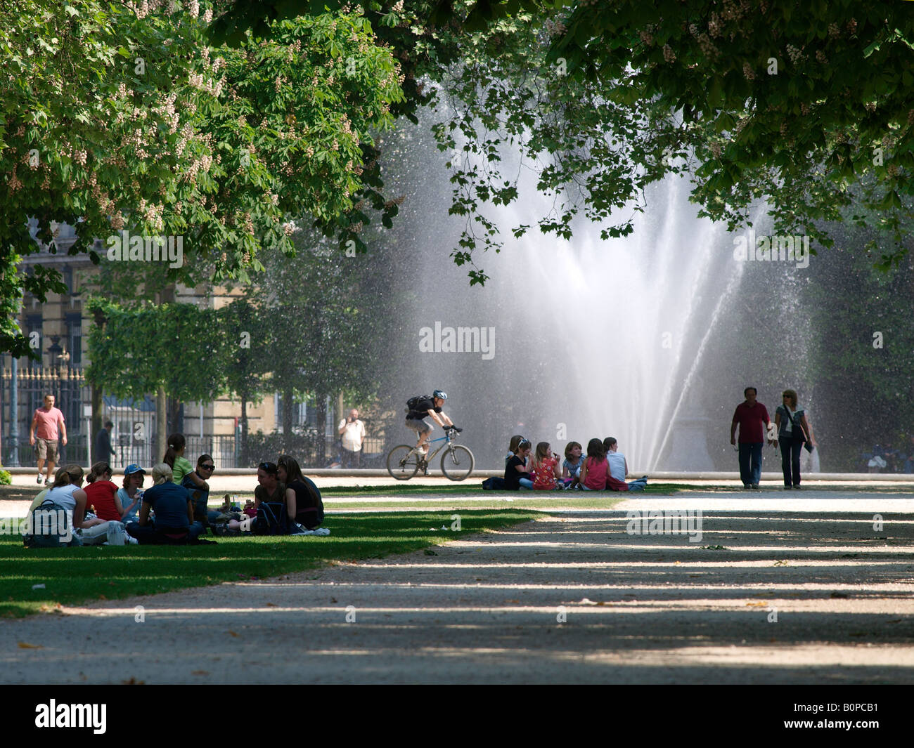The Warande park in front of the royal palace in Brussels Belgium on a hot summer day Stock Photo
