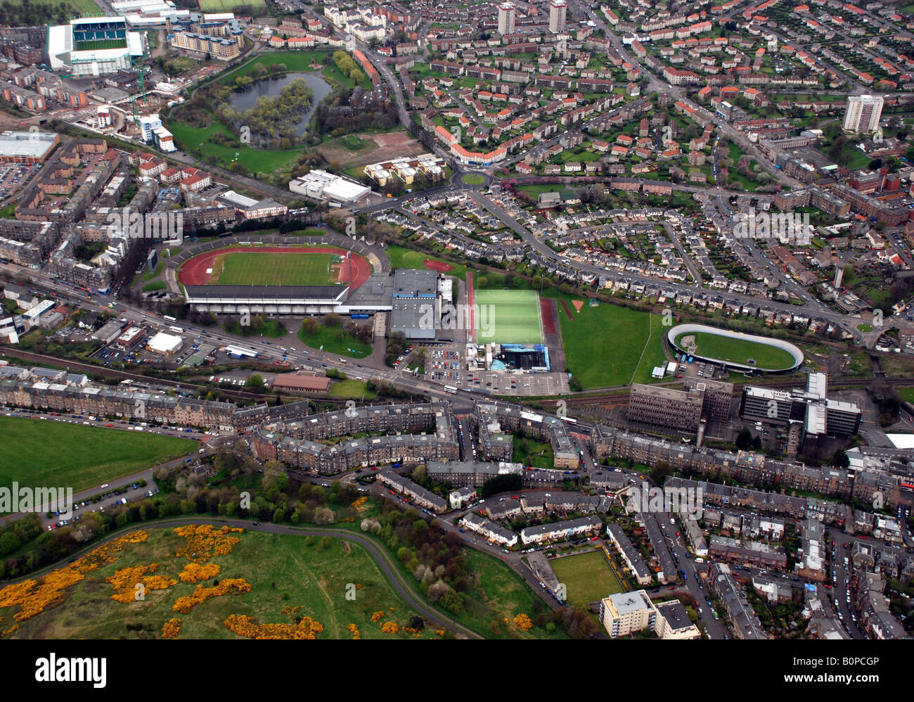 Aerial view of Edinburgh showing three stadia, Meadowbank Athletics Track, Meadowbank Velodrome and Easter Road - Stock Image