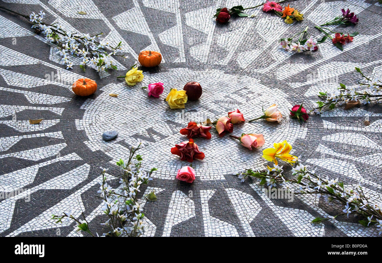 Imagine, the memorial to John Lennon in Strawberry Fields Central Park New York City - Stock Image