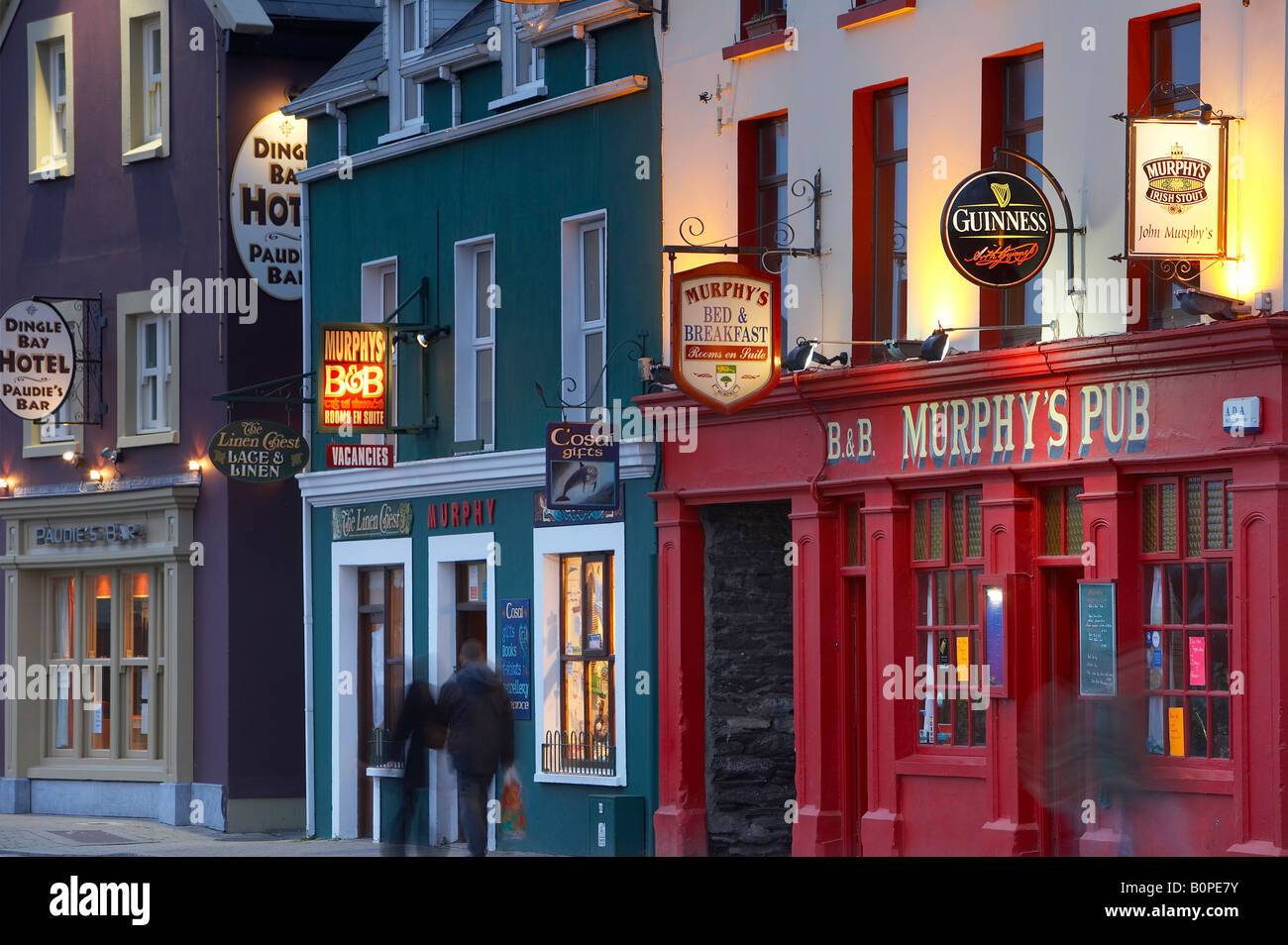 pubs on the main street in Dingle, County Kerry, Ireland - Stock Image