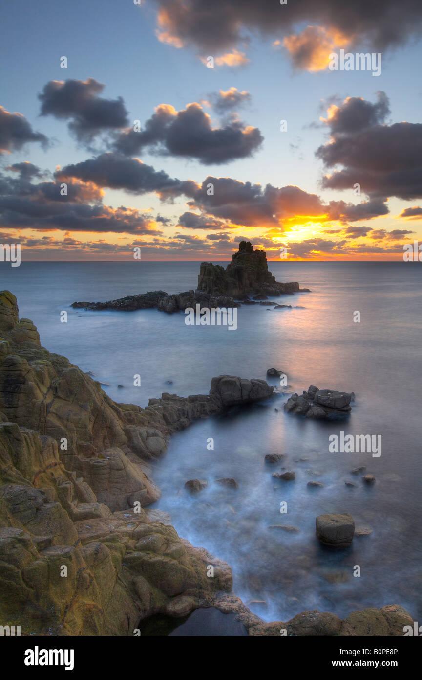 Land's End at dusk, Cornwall, England, UK (NR) - Stock Image
