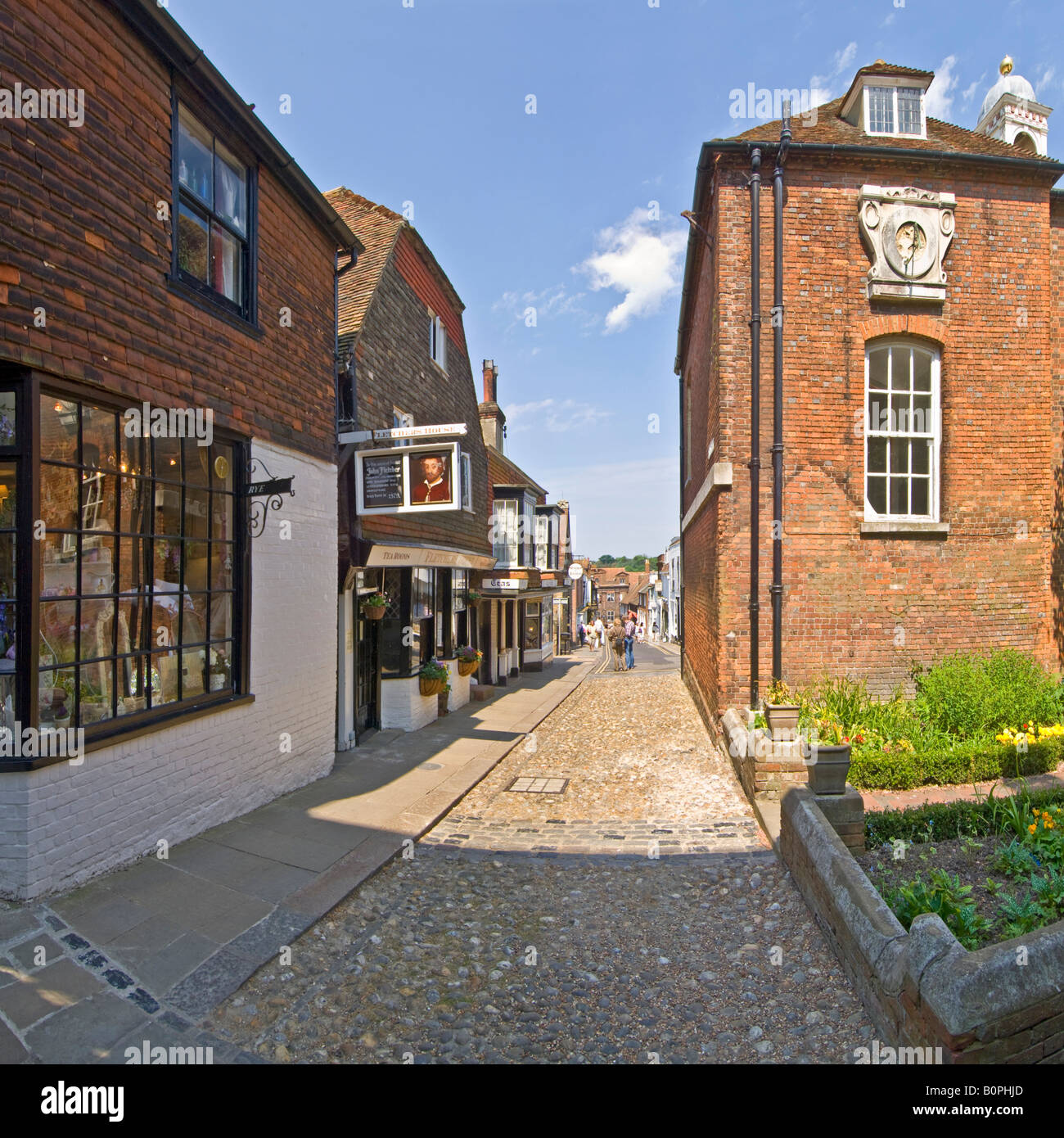 A 2 picture stitch panoramic image of Lion street showing typical architecture of Rye. - Stock Image