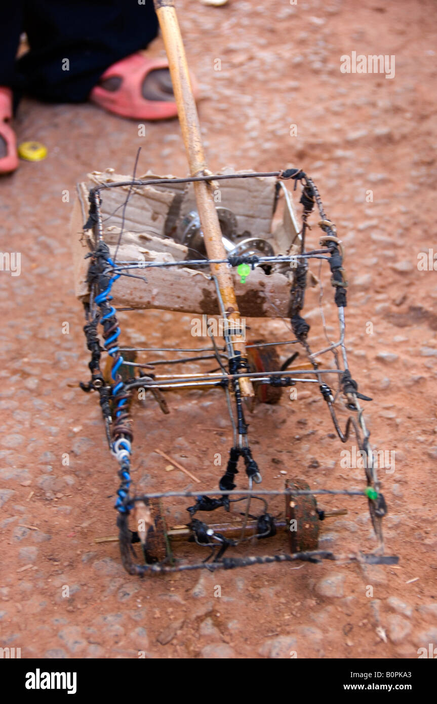 Self made African toy car made of iron wire - Stock Image