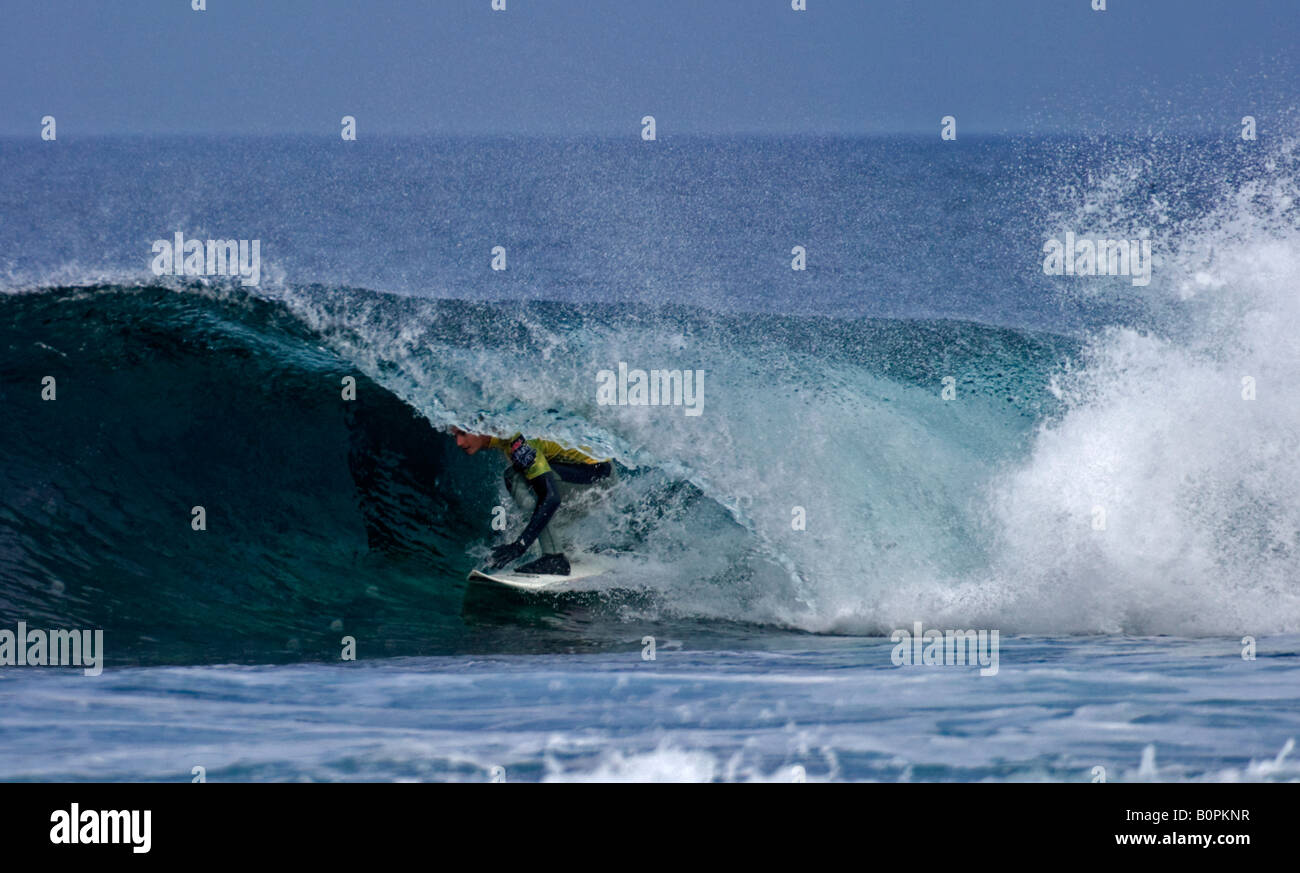 Surfer surfing at Brimms Ness 2008 O'Neill Highland Open, Thurso Caithness, Scotland, UK, Europe - Stock Image