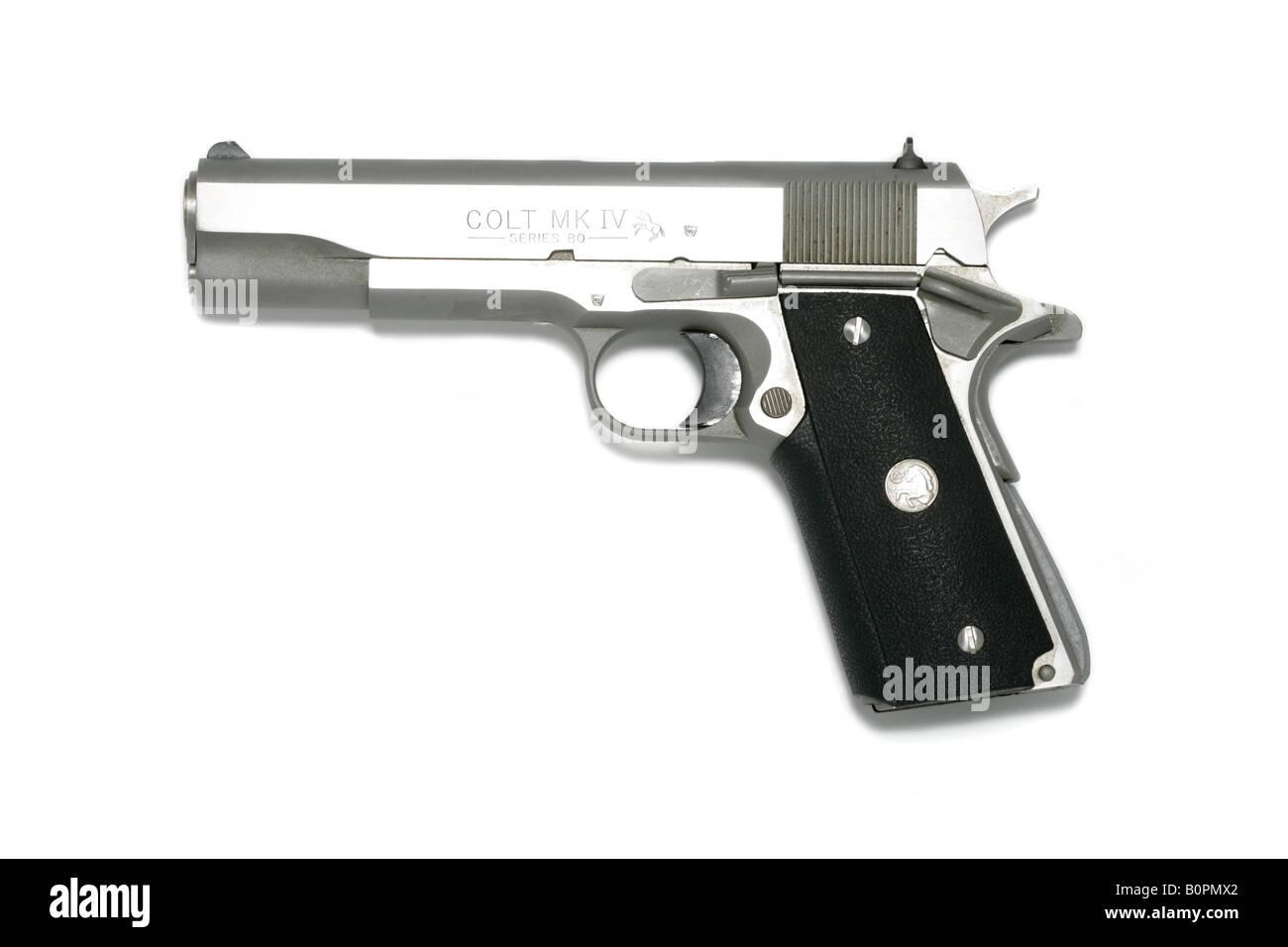 hand gun handgun pistol colt MK IV series 80 - Stock Image