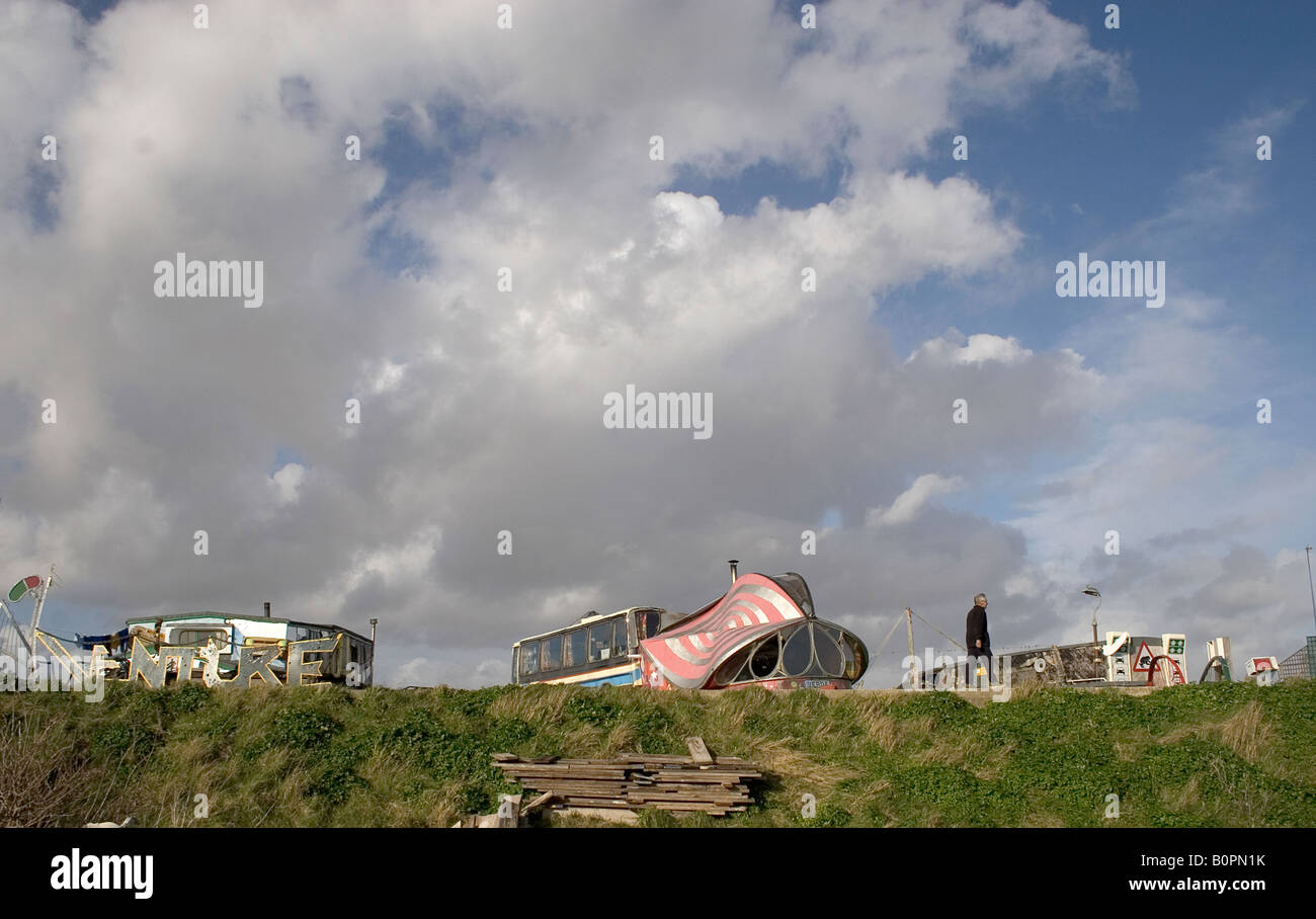 houseboats on Adur river with blue sky Stock Photo