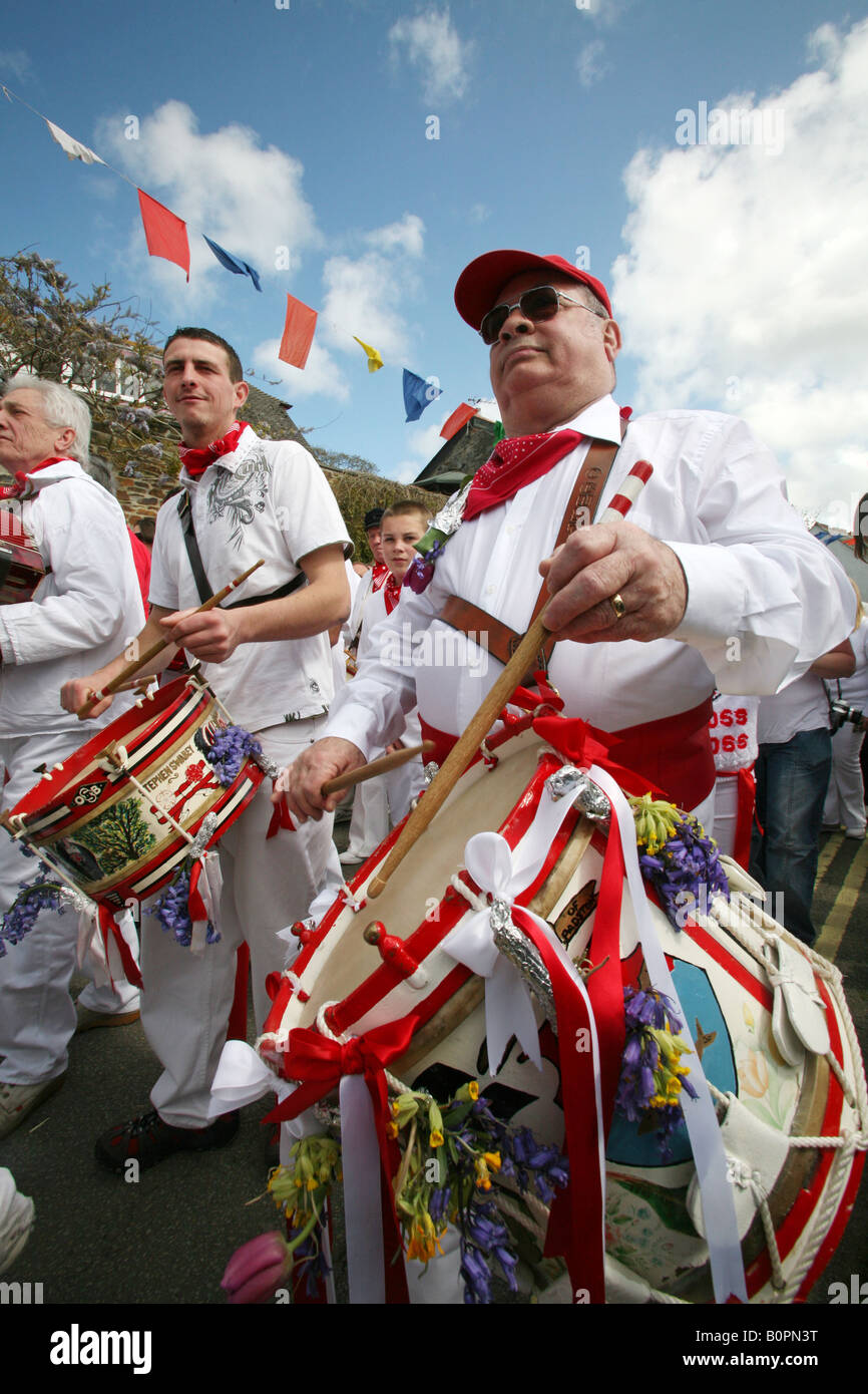 Drummer for the Red Oss, Padstow Obby Oss, May Day, Padstow, Cornwall, UK - Stock Image