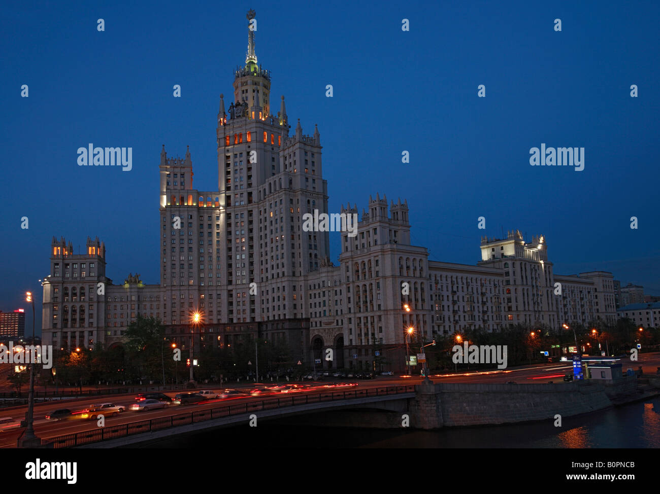 A night view at the stalinist building at the Kotelnichesky embankment - Stock Image