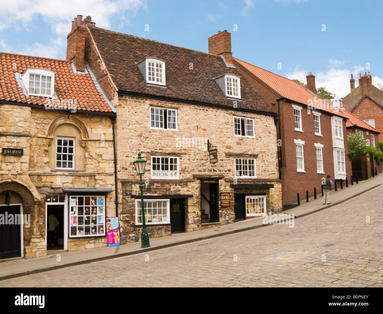 Jews Court on Steep Hill in Lincoln UK - an ancient medieval Jewish synagogue now a bookshop - Stock Image