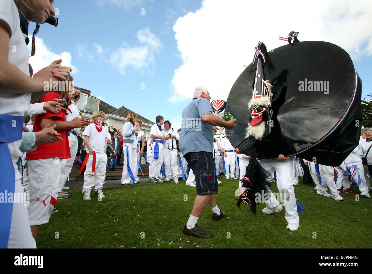 Padstow Obby Oss, May Day, Padstow, Cornwall, UK - Stock Image