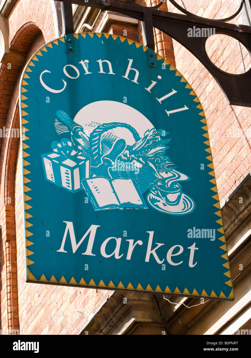 Cornhill indoor Market signage in Lincoln city centre England UK - Stock Image
