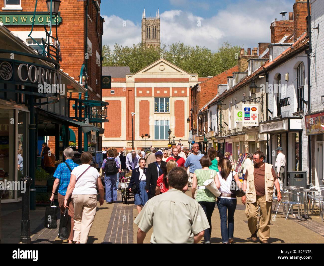 Shoppers outside the Cornhill Market in Lincoln city centre England UK Stock Photo