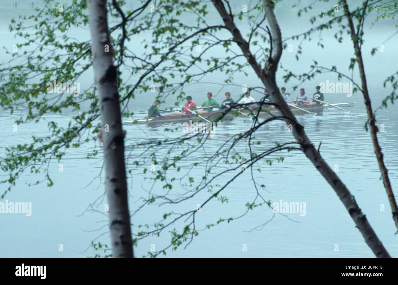 Sculling Connecticut River Dartmouth College Hanover New Hampshire Stock Photo