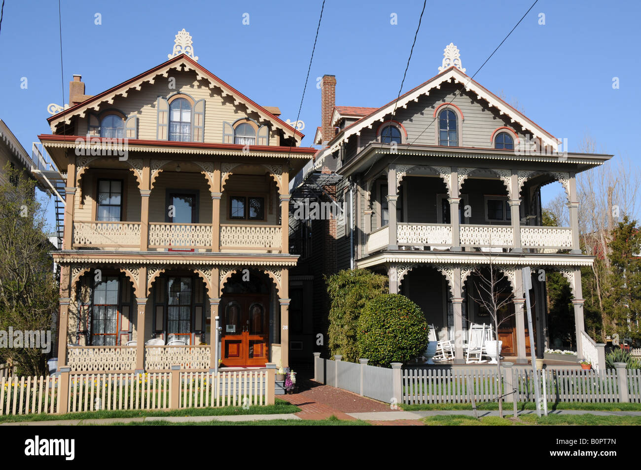 Victorian Houses, Cape May, New Jersey, USA - Stock Image