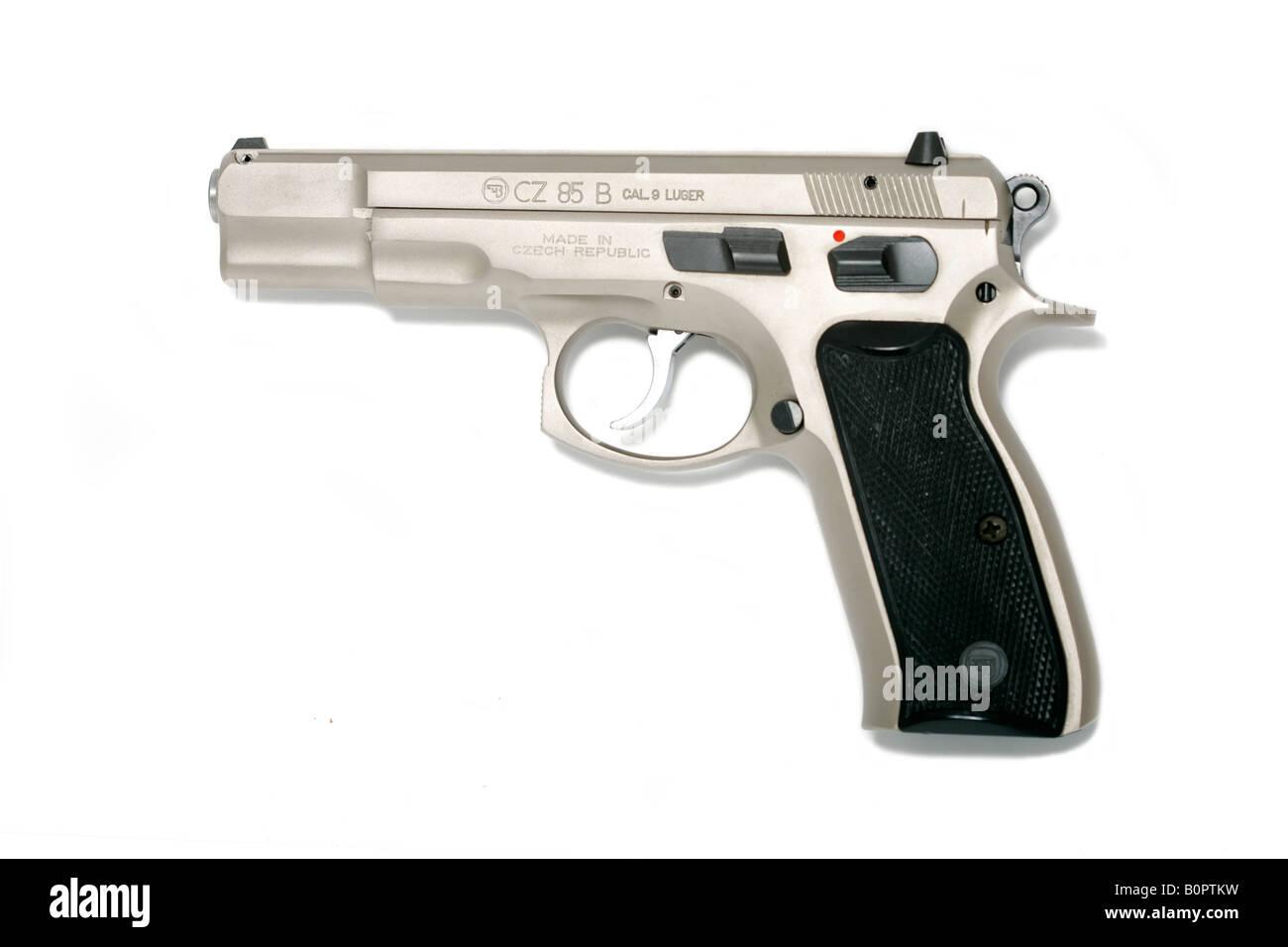 CZ 85 Chrome pistol handgun hand gun Stock Photo: 17712685 - Alamy