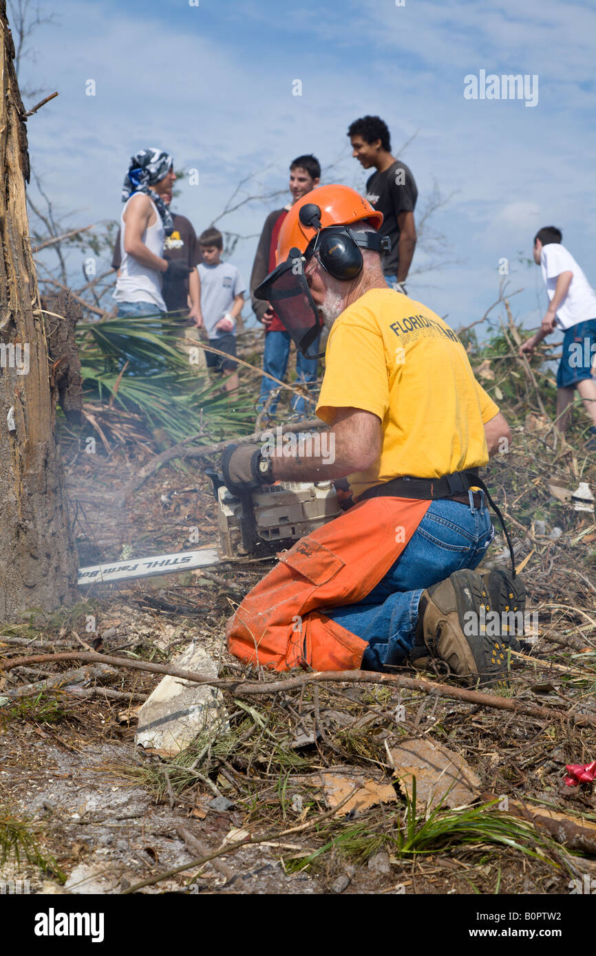 Disaster relief workers from various Florida churchs clean up after deadly tornado devastates Lake Mack Florida - Stock Image