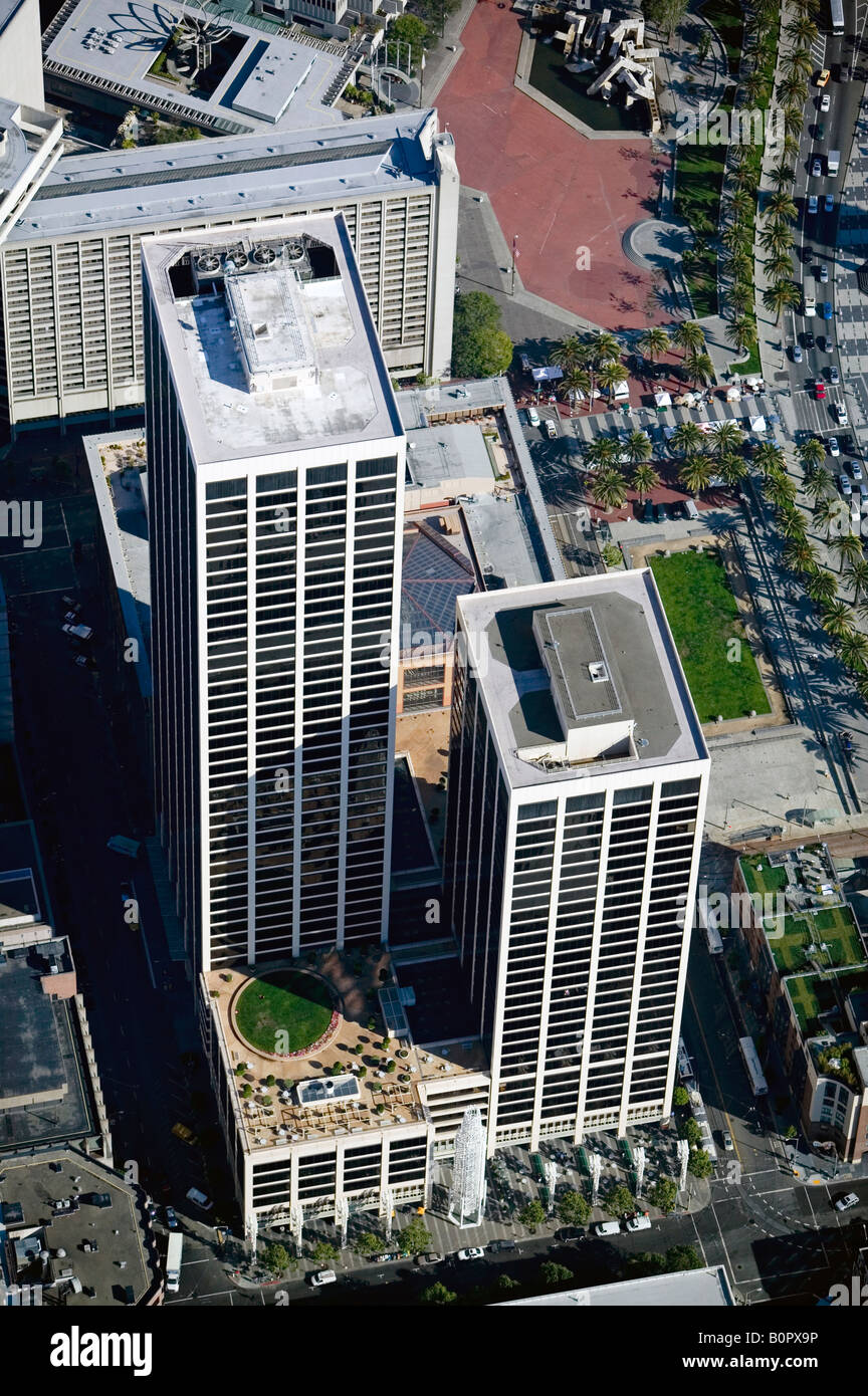 aerial above Spear Street Towers San Francisco, California financial district - Stock Image