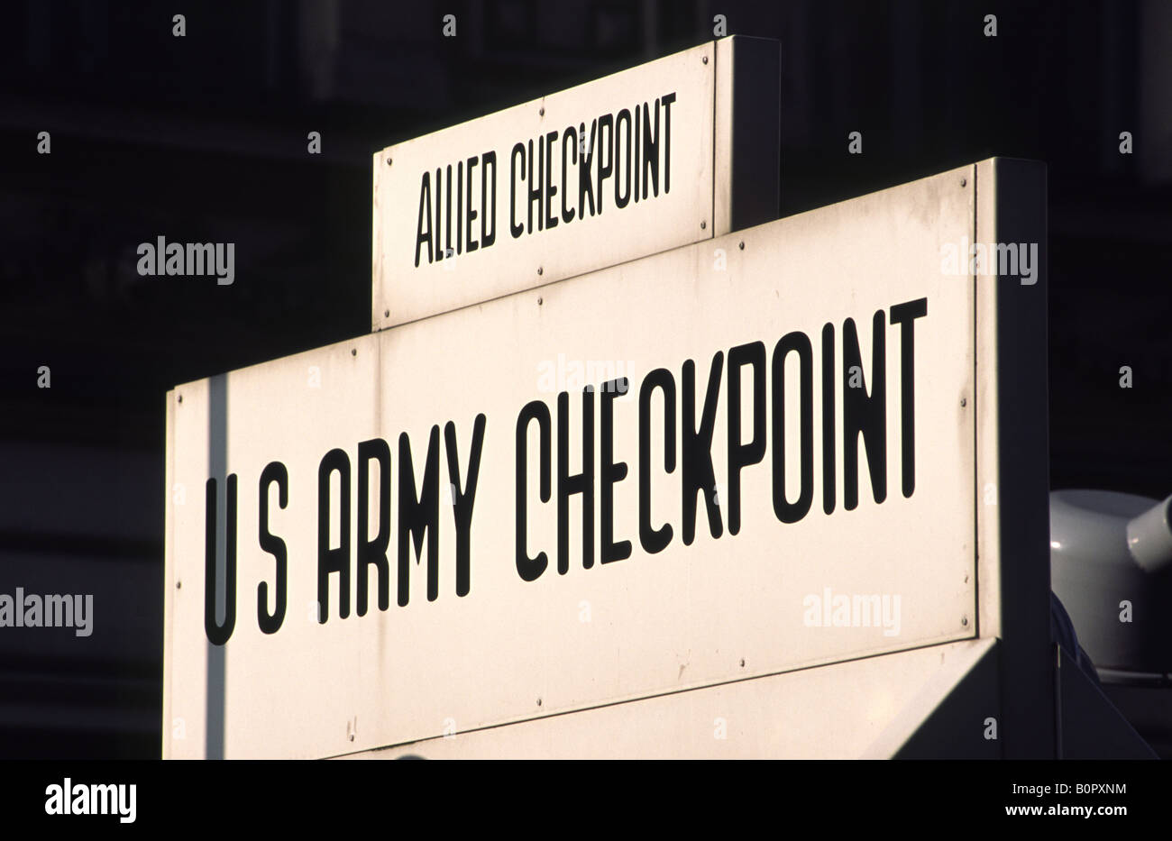 Checkpoint Charlie, the cold war east-west border crossing. Berlin, Germany. - Stock Image