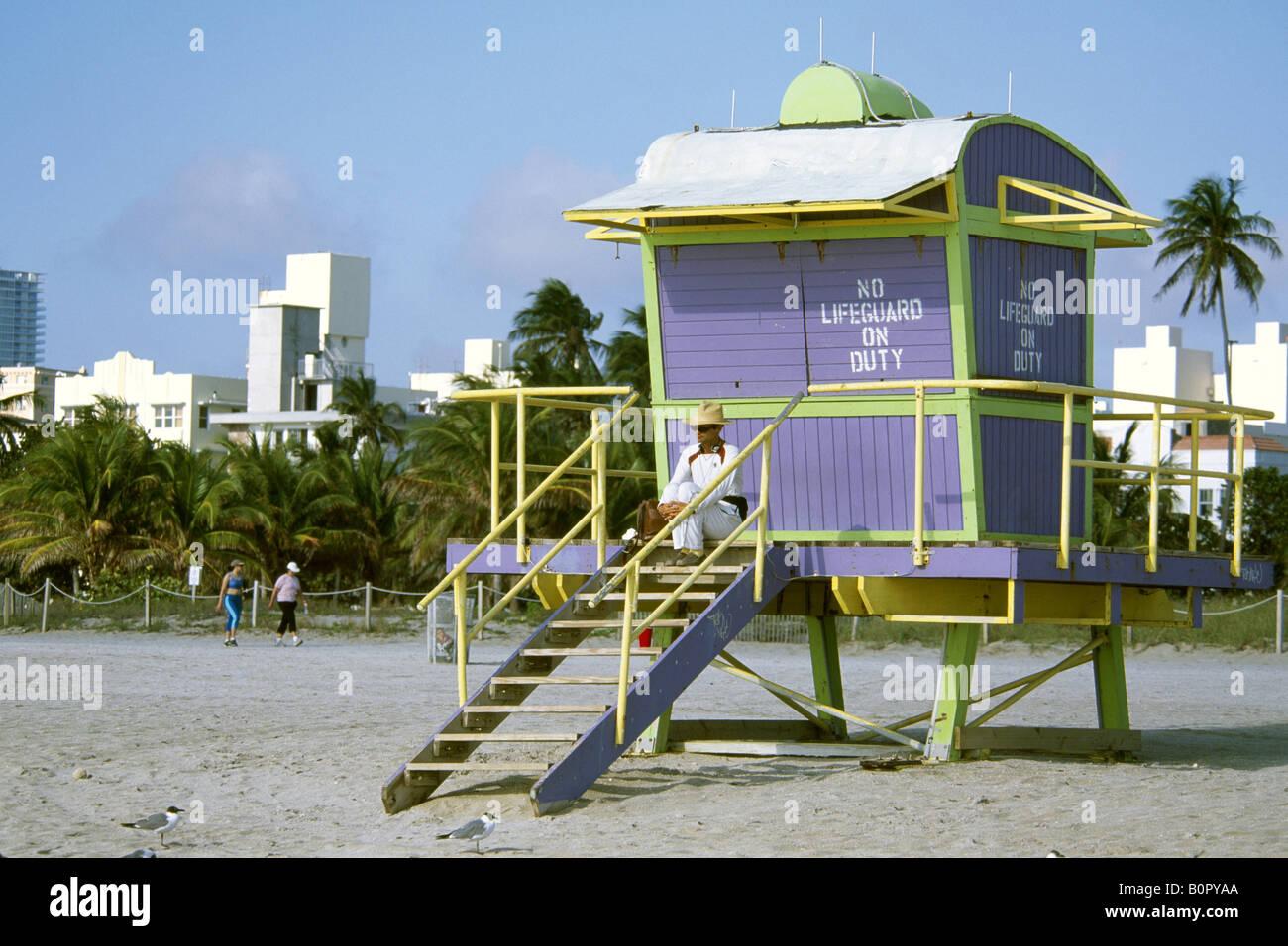 Life Guard South Beach Miami Beach Miami Florida USA Stock Photo