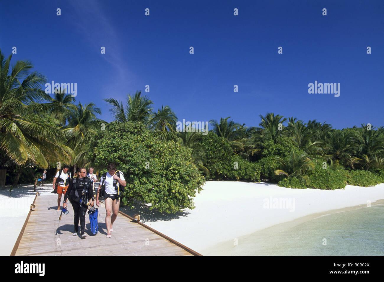 Taucher Insel Baros Malediven - Stock Image