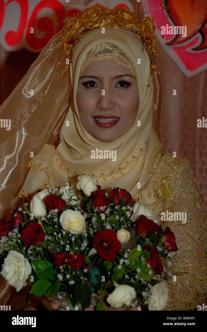 muslim bride, bangkok, thailand - Stock Image