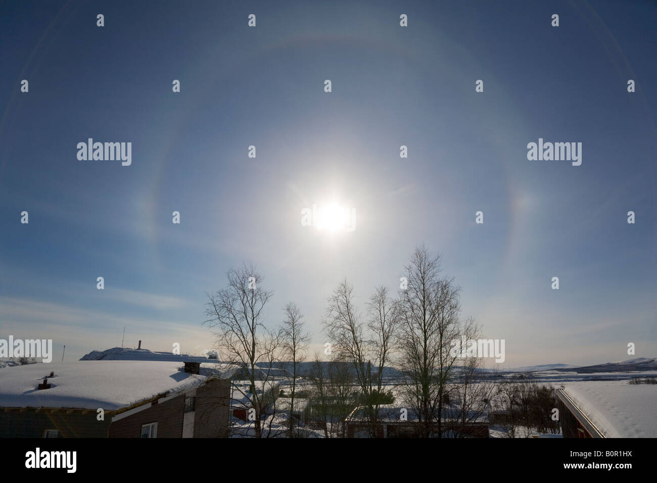 A halo on the sky above Kiruna / northern Sweden - Stock Image