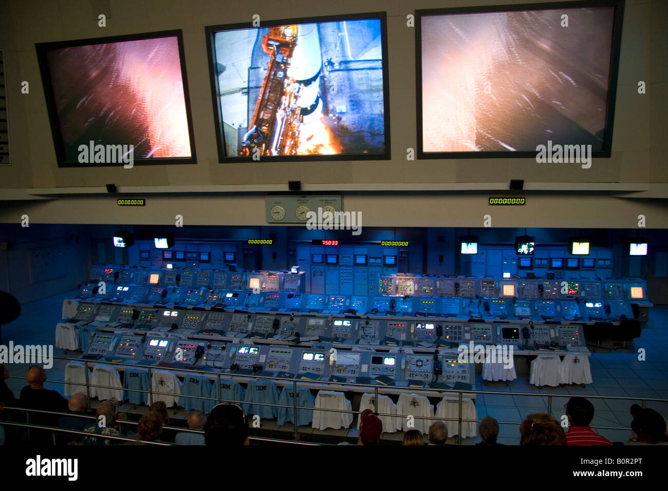 NASA control room for the Apollo 11 manned mission to land on the moon at the John F Kennedy Space Center Cape Canaveral - Stock Image