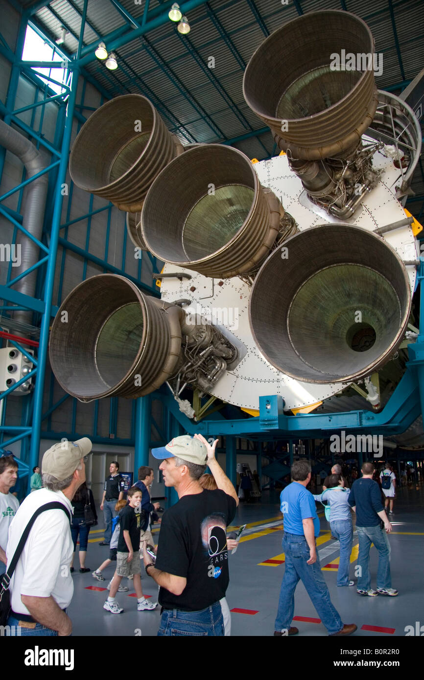 Saturn V Moon Rocket used by Nasa s Apollo and Skylab programs located at John F Kennedy Space Center in Cape Canaveral - Stock Image