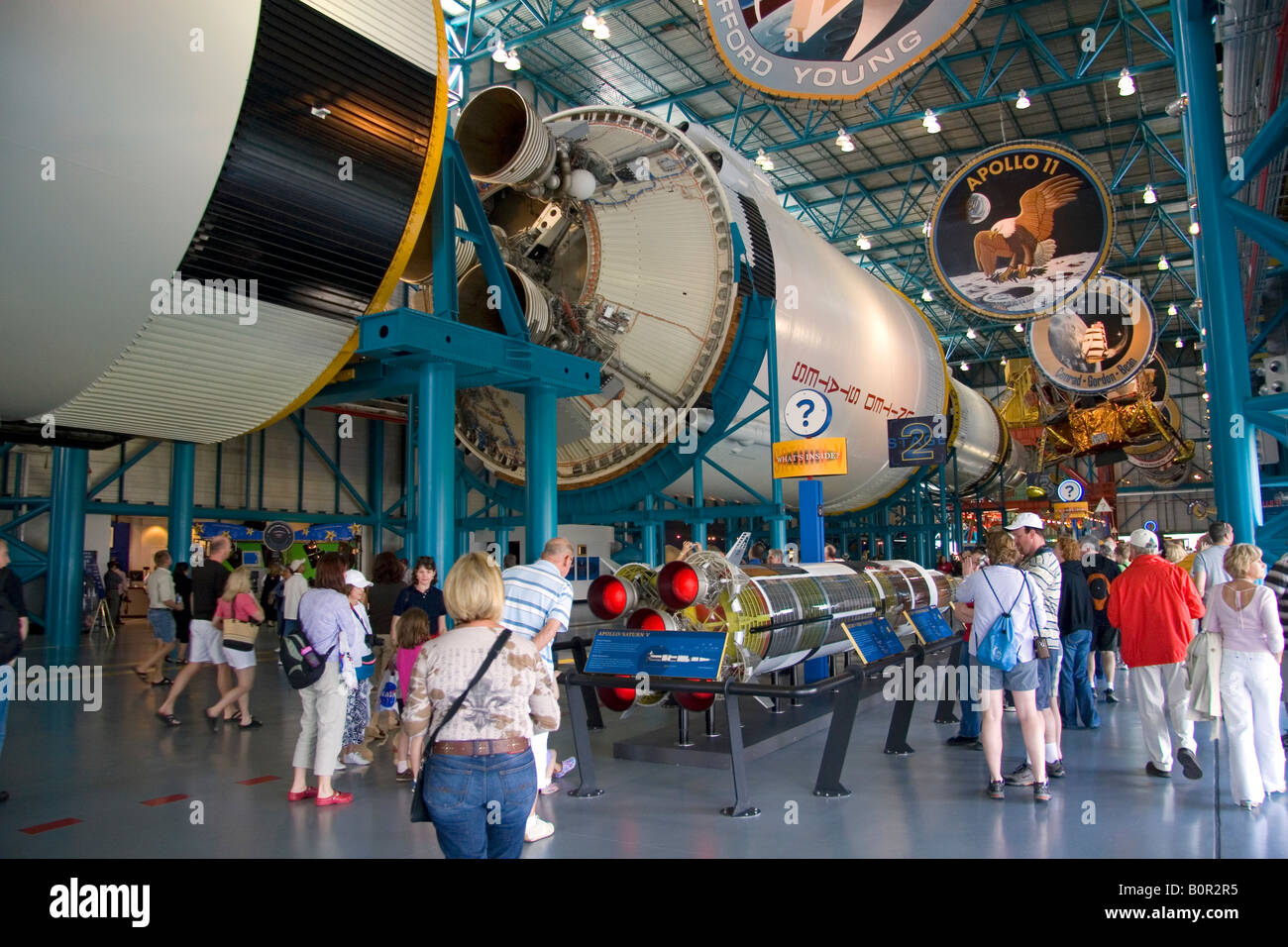 Saturn V Moon Rocket used by Nasa s Apollo and Skylab programs located at John F Kennedy Space Center in Cape Canaveral Stock Photo