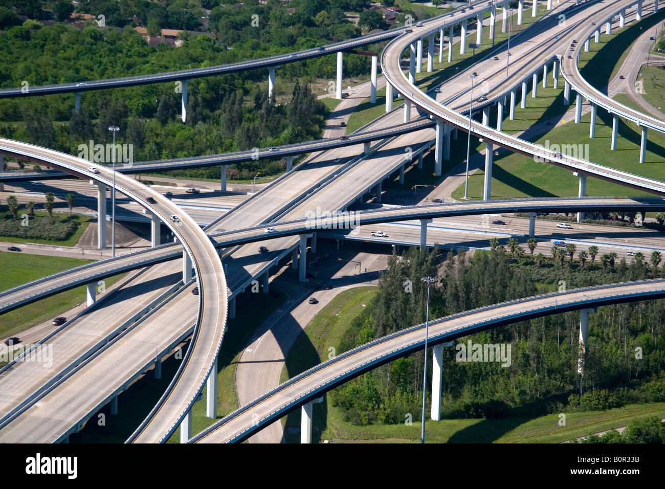 Aerial view of the freeway interchange of Interstate 45 and the State Highway Beltway 8 in Houston Texas - Stock Image