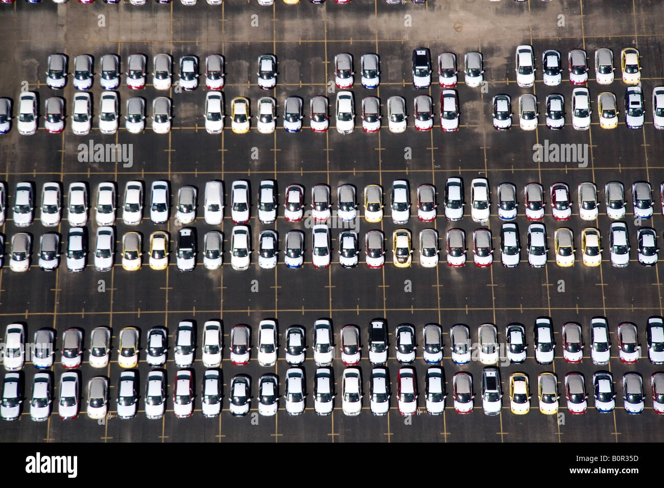 Aerial view of new imported cars at the Port of Houston in Houston Texas - Stock Image