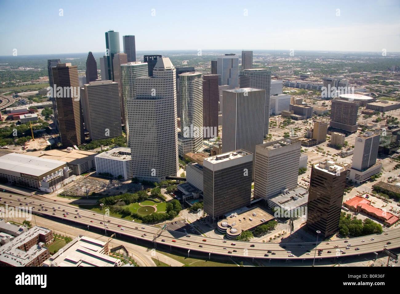 Aerial view of downtown Houston Texas - Stock Image