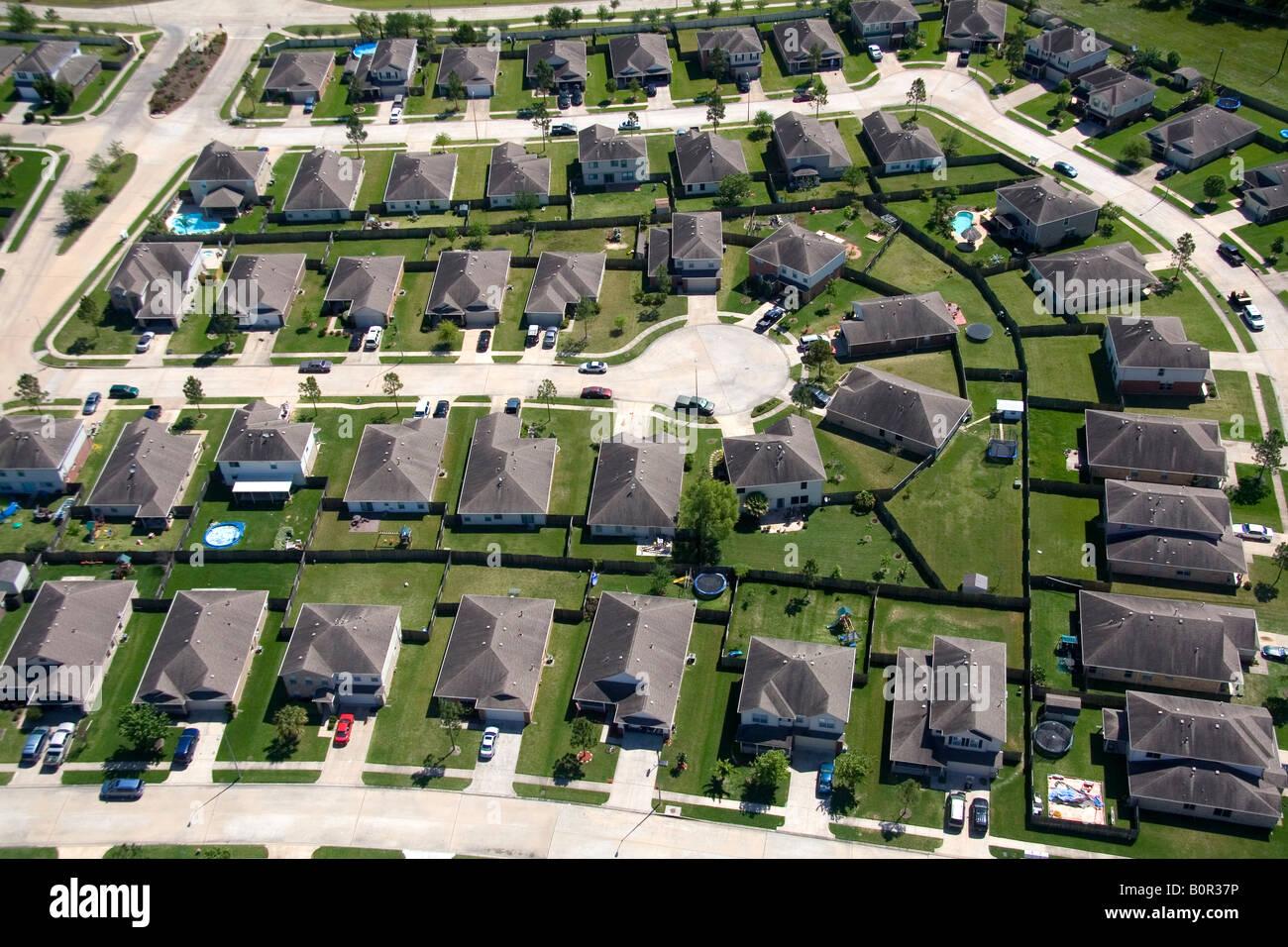 Aerial view of a suburban subdivision near Houston Texas - Stock Image