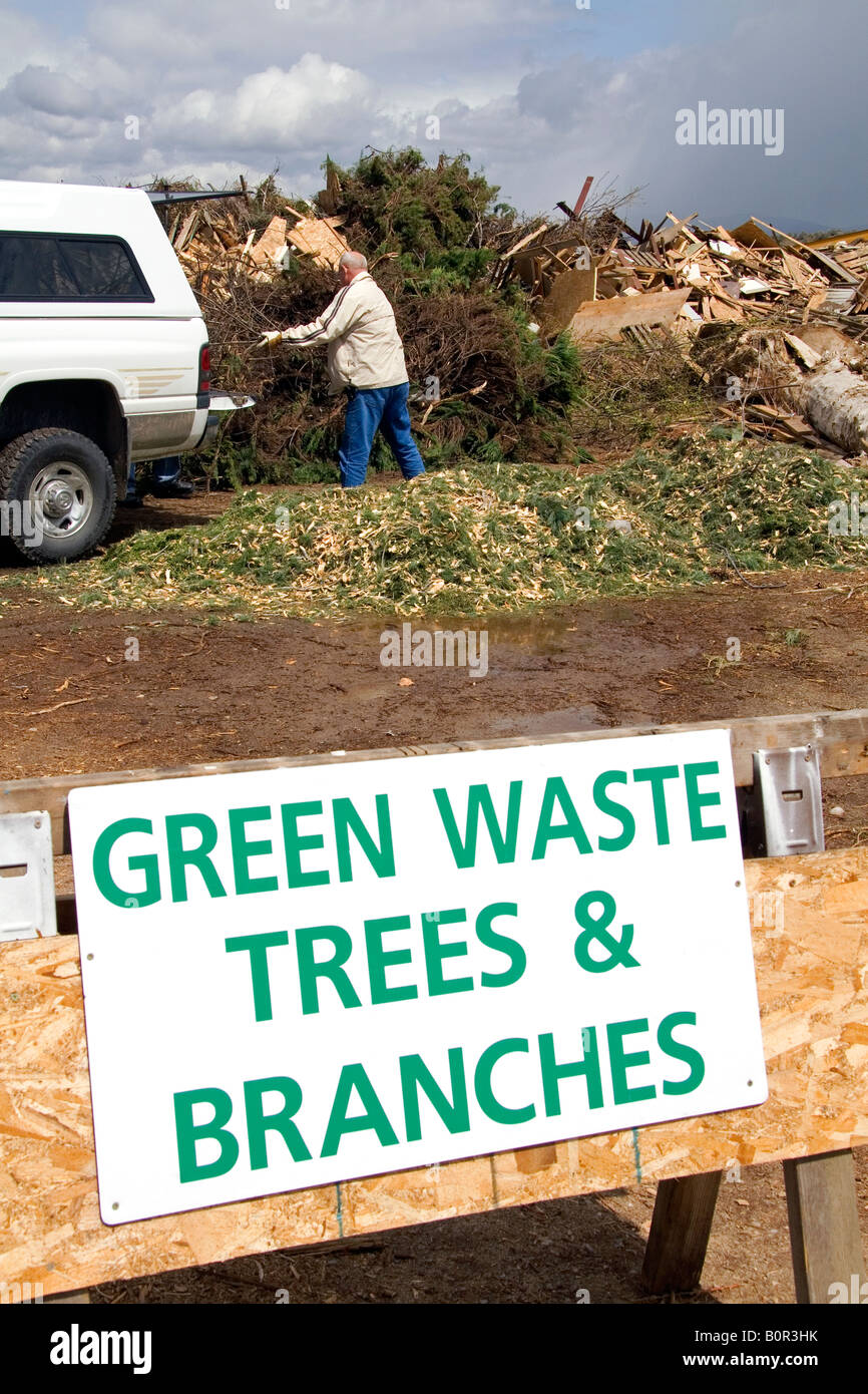 Green waste recyclable materials at the Ada County Landfill in Boise Idaho - Stock Image