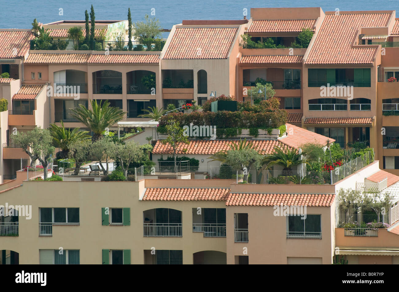 Roof Terrace Gardens Monaco South Of France Stock Photo